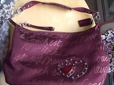 Coach  Burgundy Lurex Signature Script New York Shoulder Bag Hobo