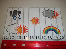 Weather themed 11-20 Number Sequence Puzzle and Game Board. Laminated education