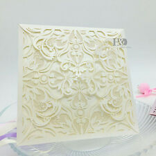 12 PCS Wholesale Ivory Laser Cut Wedding Invitation Cards Party Evening Favor