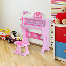 Homcom 37 clé clavier électronique piano enfants microphone tabouret support musical rose