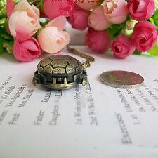 Elegance Vintage Retro Bronze Turtle Pendant Necklace Quartz Chain Pocket Watch