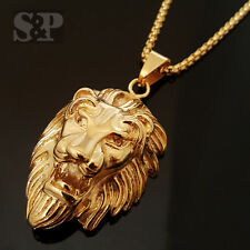"Gold Stainless Steel MAJESTIC LION HEAD Pendant w/ 24"" Round Box Chain Necklace"