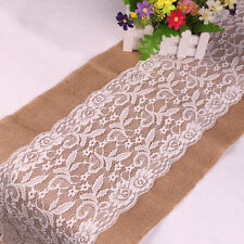 30*108cm Vintage Burlap White Lace Hessian Wedding Table Runner Natural Jute  IO