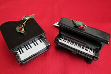 Kurt s Adler Grand and Upright Piano Christmas Ornament Resin Set of 2 Black