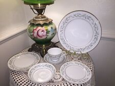 Rose China Japan Louise 3803 Lot 6 pc Place Setting Green Silver Trim Plates Cup