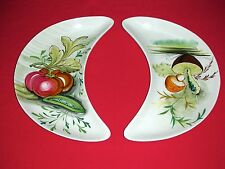 2 VINTAGE MANCIOLI ITALY HAND PAINTED RETRO BONE PLATES SERVING DISHES - 1950's