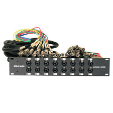 Rack Mount 16 Channel XLR TRS Combo Splitter Snake Cable - 5' and 30' XLR trunks