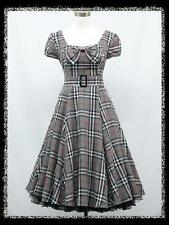 dress190 GREY TARTAN CHECK CAP SLEEVE 50's ROCKABILLY VINTAGE PARTY DRESS 14-16