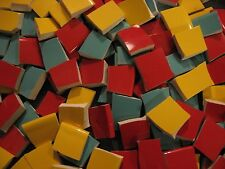 Red, Yellow, Turquoise Trio Broken China Mosaic Plate Tiles