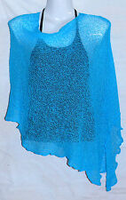 PONCHO bleu turquoise GILET CACHE COEUR PULL FEMME TAILLE UNIQUE SHRUG blue