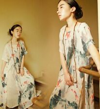 Chinese Painting Lotus Printed Slit  Cotton Women's Long Dress Tea Dress