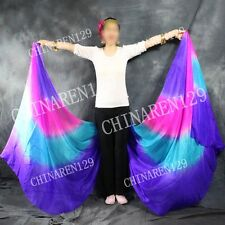 two pieces HALF CIRCLE BELLY DANCE 100% SILK VEIL Purple Pink blue Purple   6659