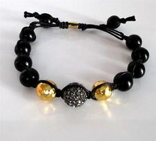 TAI Black Bead Crystal Ball Gold Vermeil Knotted Black Cord Adjustable Bracelet
