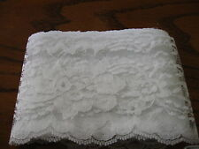 WHITE lace trim #444 4 inch  Raschel scalloped edge polyester  trim 14 1/4 yd