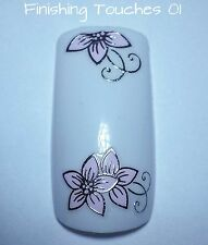 Flower Nail Art Sticker- 3D Pink Silver Decal  #280 Transfer Wrap Metallic