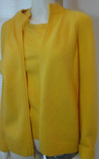 ST. JOHN Yellow CASHMERE  FULL ZIP 2PC CARDIGAN SWEATER TWINSET SZ S