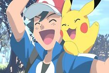 Photo Poster A4 Print High Quality Gloss Picture Of Pokemon Pikachu Ash