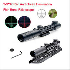 3-9X32EG Red/Green Crosshair Scope Sight fit 20 rail Mount for Rifle Hunting