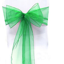 Green Sash Bows Tie Chair Cover Organza Venue Banquet Wedding Party Decoration