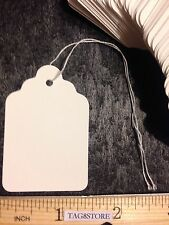 200 WHITE Large Price TAG #7 Merchandise Tags BLANK w/ Strings STRUNG SALES