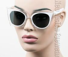 Oversized Cat Eye Sunglasses Jackie O Vintage Style Clear Smoke White K720