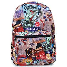 "DC Comics Women Large School Backpack 17"" All Over Prints Bag Bat Grils Wonder"