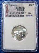 CANADA 1967 25 Cents  (WILDCAT) in slab holder #4