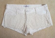 NWT Hollister Womens Crochet Shorts Size 9 Cream Low Rise