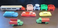 Lot of (10) - (6) Plastic Toys Trucks & Cars + (4) Piece Circus Train Vintage
