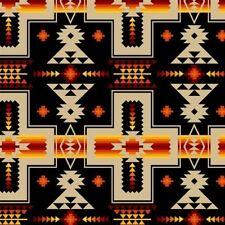 Tucson Southwest Tan Red Orange Aztec Design on Black Cotton Fabric Fat Quarter