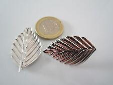 1 paio di particolari monachelle foglia argento 925  rodiato  lastra stampata