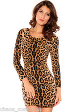 Sexy Leopard Naughty Night Club Fashion Designer Cocktail Cheetah Dress 8 10 12