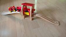 Frachtverladestation Brio 33389 mit Zug Holzeisenbahn Wooden Railway