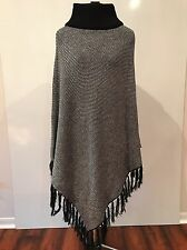 PRE-OWNED WILSONS LEATHER BLACK/WHITE FRINGE SWEATER PONCHO ONE SIZE