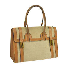 100% Authentic HERMES DRUG Hand Bag Beige Gold Toile H Leather Vintage V05072