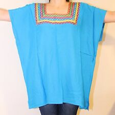 XXL AQUA PEASANT BOHO HIPPIE STYLE EMBROIDERED HUIPIL MEXICAN OAXACA BLOUSE TOP
