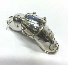 """Sterling Silver Folding Armor 5 Knuckle Joint 3"""" Medieval Design Ring Sz6 Gothic"""