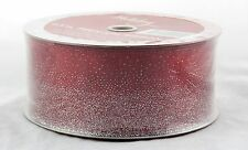 Silver Sparkle Dusted Red Sheer 2.5in Wide Wired Ribbon 50 yards NEW christmas