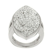 Steel by Design Stainless Steel Pave' Marquise Design Crystal Ring Size 6 QVC