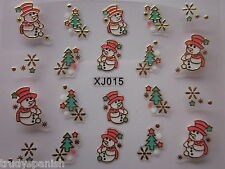 Christmas 3D Nail Art Stickers Decals Gold Snowflakes Snowman Gel Polish (xj15G)