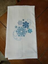 Embroidered Velour Hand Towel - Christmas - Blue Snowflakes
