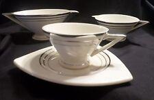 Salem OH China Co. Tricorne Streamline Pattern Cup & Saucer, Creamer, Gravy Boat