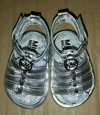 Infants Baby Girls Michael Kors Baby Joy Hannah shoes size 1 silver MK