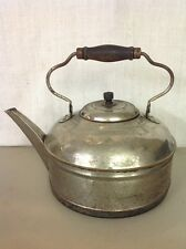 VINTAGE ANTIQUE LARGE SILVERPLATE ON COPPER CHICAGO TEA POT KETTLE W/ HANDLE