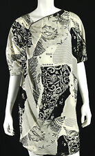 GIANNI VERSACE Vintage Ivory & Black Abstract Silk Ruched Tunic Blouse 46