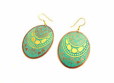 Oval Turquoise and Copper Fair Trade Earrings, Bohemian, Ethnic, Made in India