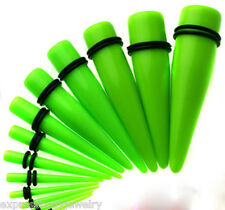 NEON GREEN Taper Pair 10g Ear Plug Tapers Expander Stretcher Gauges