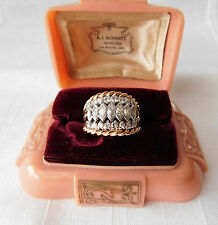 ANTIQUE 14K GOLD 1.68 ctw MARQUISE DIAMOND CLUSTER RING ~ SIZE 8 ~ 11.2 Grams