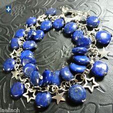 ♥ Adorable Lapis Lazuli Discs Plated Silver Crystal Inlays Starry Clasp Bracelet