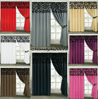 Stunning Damask Curtains Pair Of Half Flock Pencil Pleat Window Curtain With Tie